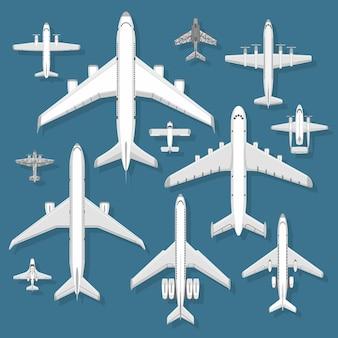 Ilustração de vista superior do avião.