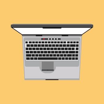 Ilustração de vista superior do laptop