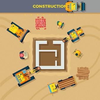Ilustração de vista superior do processo de construção