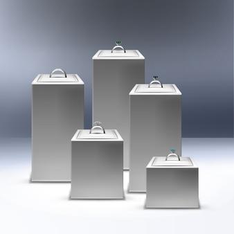 Ilustração de vitrine com anéis de prata em exibição