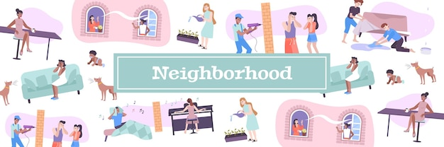 Ilustração de vizinhos de casa com animais de estimação e símbolos de ruído de crianças plano