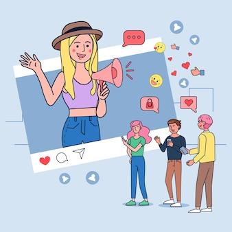 Ilustração de vlogger de transmissão ao vivo