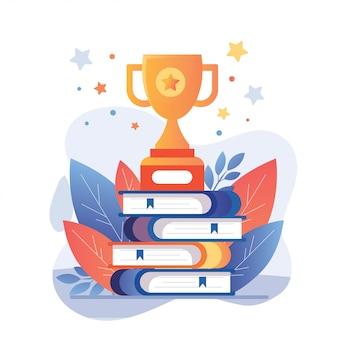 Ilustração de volta à educação escolar pilha de livros e troféu de ouro para o vencedor do sucesso futuro.