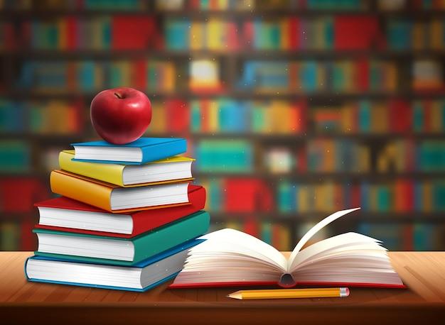 Ilustração de volta à escola com livros lápis e maçã na mesa na biblioteca realista
