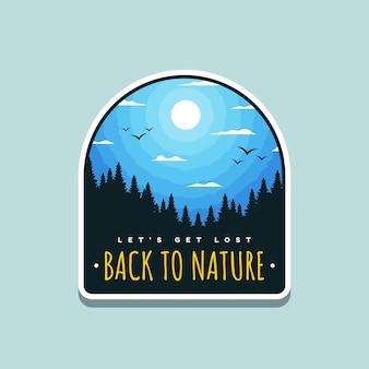 Ilustração de volta à natureza para crachá ao ar livre ou design de camiseta
