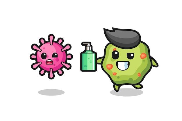 Ilustração de vômito perseguindo vírus maligno com desinfetante para as mãos, design de estilo fofo para camiseta, adesivo, elemento de logotipo