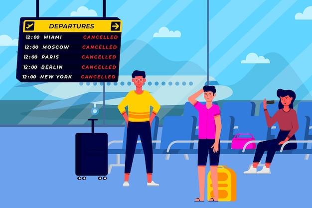 Ilustração de voo cancelado
