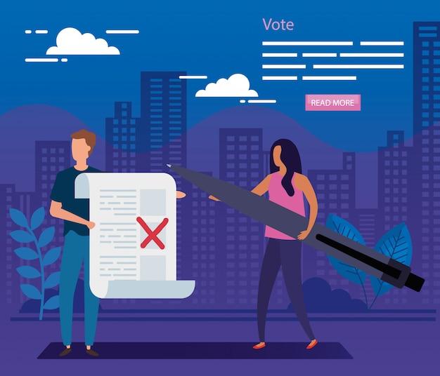 Ilustração de votação com casal de negócios