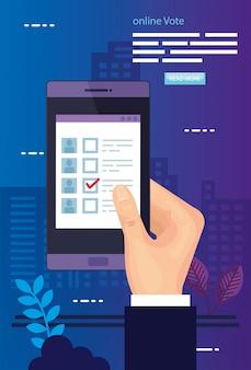 Ilustração de votação com mão e smartphone