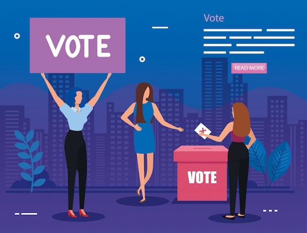 Ilustração de votação com mulheres de negócios na paisagem urbana