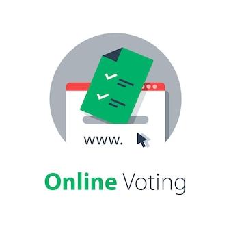 Ilustração de votação na internet