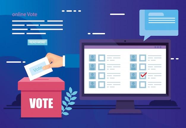 Ilustração de votação on-line com computador e urnas