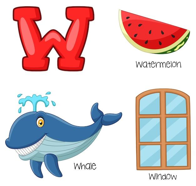 Ilustração, de, w, alfabeto
