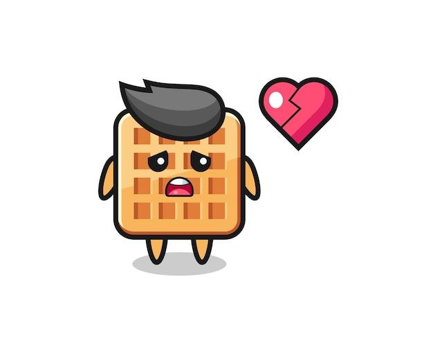 Ilustração de waffle dos desenhos animados com coração partido, design fofo Vetor Premium