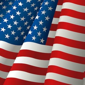 Ilustração, de, waving, bandeira eua