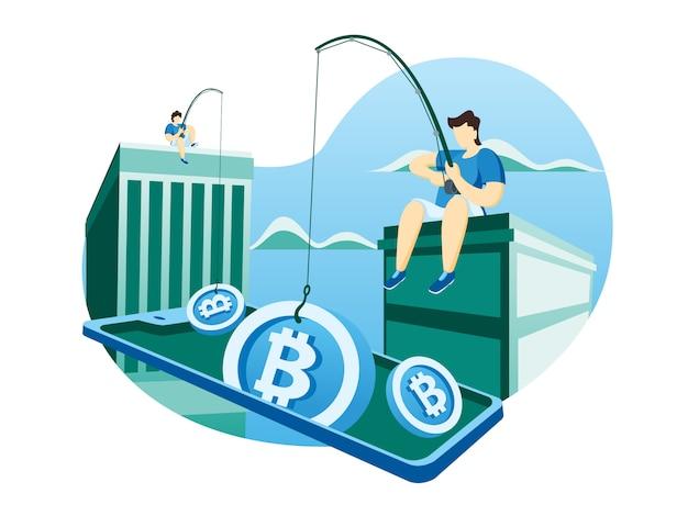 Ilustração de web de moeda criptografada