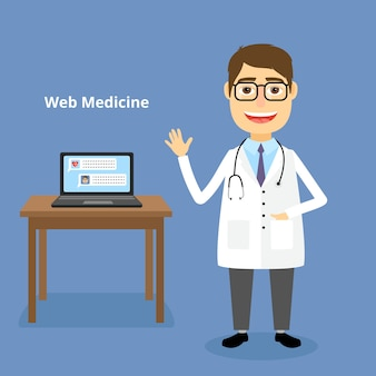 Ilustração de web medicine com um médico amigável e feliz usando um estetoscópio