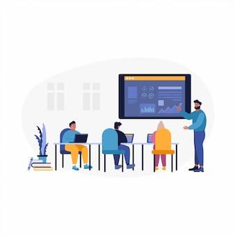 Ilustração de web móvel conceito de ferramenta de análise de relatório aplicativo móvel conceito. pessoas de negócios, estudando gráficos gráficos.