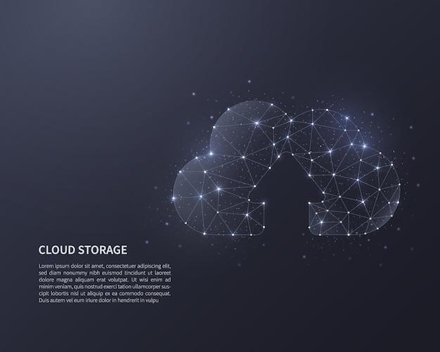 Ilustração de wireframe de baixo poli de armazenamento em nuvem.