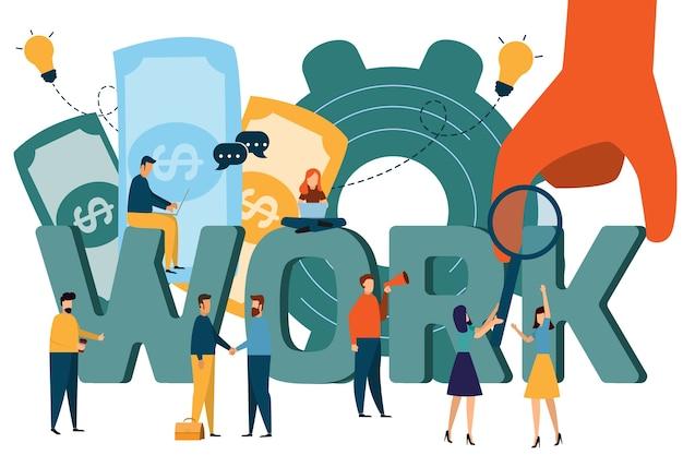 Ilustração de woking, procura de emprego, recrutamento, grupo de trabalho, freelance, web design gráfico,