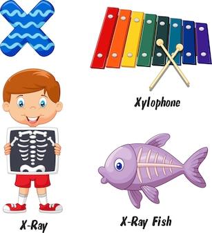 Ilustração, de, x, alfabeto