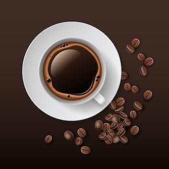 Ilustração de xícara de café branca com pires e grãos ao redor