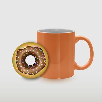 Ilustração de xícara de café e sobremesa