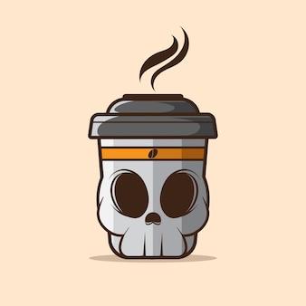 Ilustração de xícara de café linda caveira