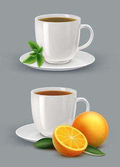 Ilustração de xícara de chá com hortelã e frutas cítricas