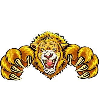 Ilustração, de, zangado, leão, mascote