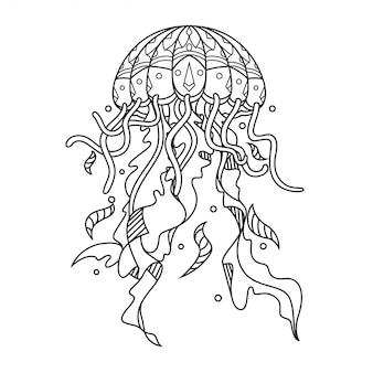 Ilustração de zentangle mandala de água-viva no estilo linear