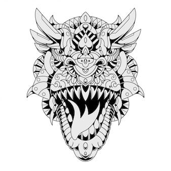 Ilustração de zentangle mandala t-rex em estilo lineal