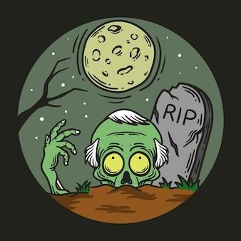 Ilustração de zumbis saindo do túmulo à noite sob a lua cheia