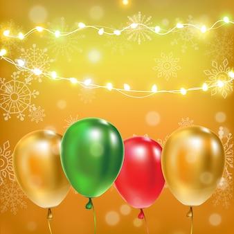 Ilustração. decoração de festa de aniversário de balões em fundo amarelo.