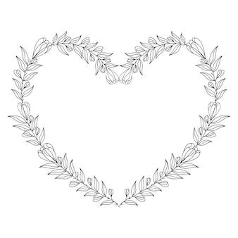 Ilustração decorativa de coração com moldura floral