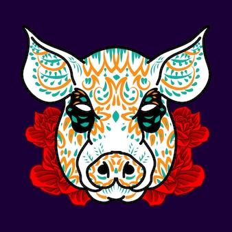 Ilustração decorativa do dia dos mortos da cabeça de porco no méxico