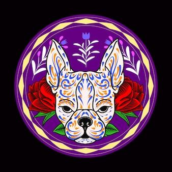 Ilustração decorativa do dia dos mortos no méxico com a cabeça de cachorro