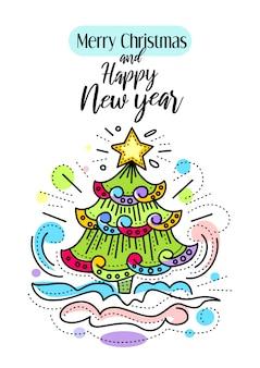 Ilustração decorativa para cartões de natal e ano novo. Vetor Premium