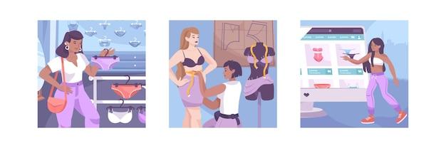 Ilustração definida com compras online, medição do corpo e compra de calcinhas na loja
