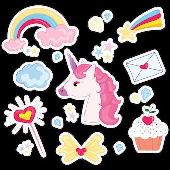 Ilustração definida para menina. coleção de desenhos estilizados para a princesa.