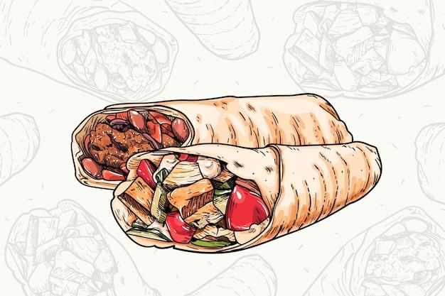 Ilustração deliciosa de shawarma com detalhes
