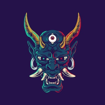 Ilustração demon oni japonesa