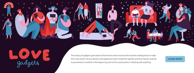 Ilustração dependente de gadgets com pessoas que não conseguem fugir dos smartphones