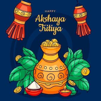 Ilustração desenhada à mão akshaya tritiya