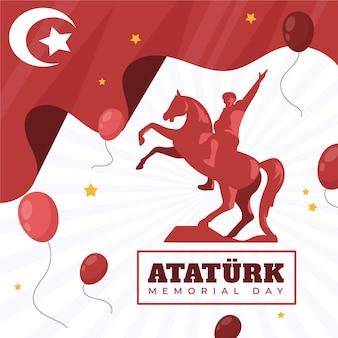 Ilustração desenhada à mão ataturk memorial day