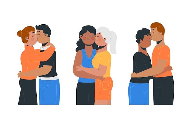 Ilustração desenhada à mão com casais se beijando