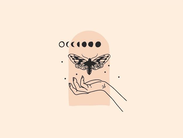 Ilustração desenhada à mão com elementos do logotipo feminino, borboleta, fase da lua