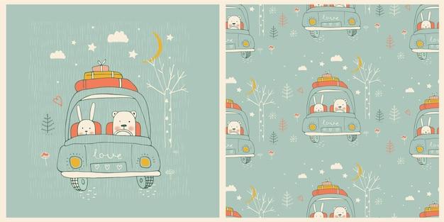 Ilustração desenhada à mão com padrão sem emenda amigos fofos urso e coelhinho animais bebês viajando