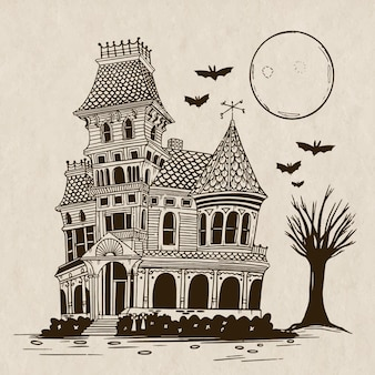 Ilustração desenhada à mão da casa do dia das bruxas