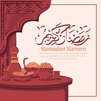 Ilustração desenhada à mão da celebração da festa ramadan kareem iftar